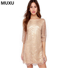 MUXU Sexy autumn gold sequin dress patchwork women vestidos mujer glitter  dress womens clothing fashionable dresses elbise 2017 297c5ca4b765