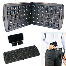 Foldable Wireless Bluetooth 2.0 Keyboard w/ Phone Tablet Holder for Samsung Galaxy iPhone 4 4S 5 5S 6 6 Plus Black