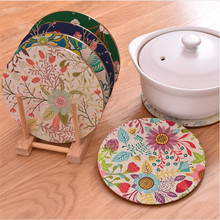 2Pcs/Set Custom Creative Wooden Mats Pad Round Thick Non - Slip Insulation Bowl Coffee cup Mat Home Accessories JJ180(China)