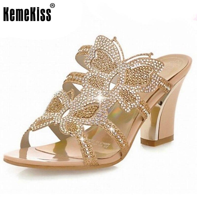 Women Leisure Thick Heel Sandals Fashion Rhinestone Sandals Sexy Patch Slides Causal/Dating Women Flip-flops Women Shoes 34-43<br><br>Aliexpress