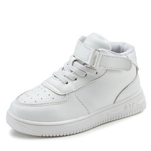 White children's sneakers high quality boys and girls casual leather shoes winter students shoes brand high tube board shoes(China)