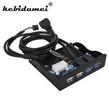 "kebidumei 4 Port USB Hub 3.0 2.0 Internal 3.5"" Floppy Bay Front Panel Combo Bracket Adapter USB3.0 20pin FDD driver Disk Space(China)"