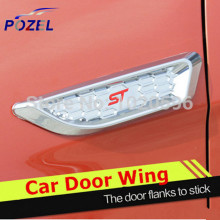 Car Side Air Vent Car Door Wing Sticker Engine Cover ABS Chrome Universal decoration sticker 2pieces/set(China)