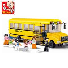 Sluban Big School Bus 382 Mini Bricks Set Sale City Series Educational Building Blocks Toys for Children B0506(China)