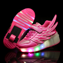 Kids Wheels Shoes Glowing Sneakers with Led Light Up Kids Roller Skates Led Shoes for Boys Girls Children Shoes tenis infantil(China)
