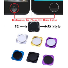 Colorful Home Button Replacement Part for iPhone 5 5G Home Key with Metal Ring Become 5S Style Keypad Repair Parts Freeshipping