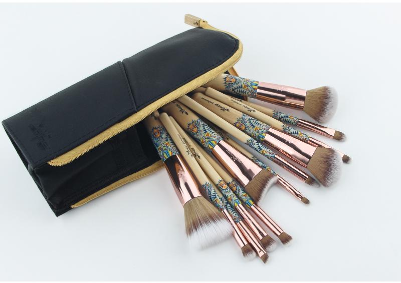 Anmor Marque Nouvelle Arrivée 12 pièces Synthétique Maquillage Pinceaux avec Unique Design Noir Sac Pinceaux Professionnels pour le Maquillage 11