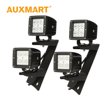 Auxmart 18W CREE Chips LED Work Light Spot/Flood Beam Offroad Light Led +Double Row A-pillar Mount Brackets For Jeep Wrangler JK