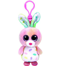 "Ty Beanie Boos Swirls The Bunny Clip 3"" Keychain Plush Stuffed Animal Collectible Doll Toy"