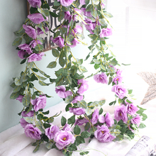 100cm Fake Silk Roses Wall Ivy Vine Artificial Flowers With Green Leaves For Home Wedding Decoration Hanging Garland Decor(China)