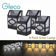 4 pack Solar wall lamp 2LEDs Solar powered LED Solar Light IP44 waterproof Outdoor Garden Yard Path Fence Lamp(China)