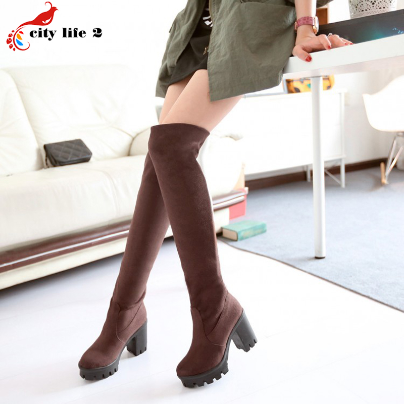 Large Size 34-43 All-Match Female Snow Boots Long Canister Knee High Boots 2017 Winter New Fashion Shoes For Women Black Brown<br><br>Aliexpress
