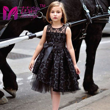 England Style Black Dress Sports Christmas Holiday Vestidos Sheer Neckline Knee-Length Tulle Tutu Rosette Flower Girl Dresses