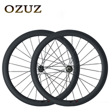 High Quality OZUZ 50mm Depth Clincher Tubular 3K Matte Glossy Carbon Wheels Front 24H Rear 24H T700 Full Carbon Fiber Disc Brake(China)