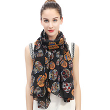 Day of the Dead Multicolored Sugar Skull Print Women's Large Scarf Shawl Wrap Soft Lightweight for All Seasons(China)