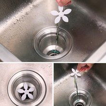 1 Pc Flower Sewer Clean Drain Pipeline Dredge Device Clear Hair Pipe Cleaning Hook Hair Filter Drain Outlet Anti Bathroom Gadget