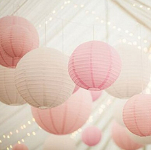 24 Pack Mixed Sizes White Pink Paper Lantern Lampshade Wedding Centerpiece Birthday Party Garden Decoration