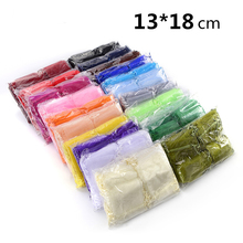 Hot Selling Wholesale 500pcs/lot 13*18cm Package Mix Colors Wedding Candy Organza Bag Gift Bags Wrapping Packing Bag(China)