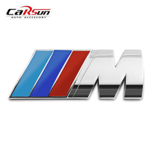 Cool Car Auto Decoration Badge Stickers M Logo Metal 3D Car Sticker for BMW M3 M5 X1 X3 X5 X6 E36 E39 E46 E30 E60 E92 All Model(China)