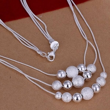 Wholesale silver plated Necklaces & Pendants,925 Jewelry silver,Three Line Multi Beads Necklace SMTN020