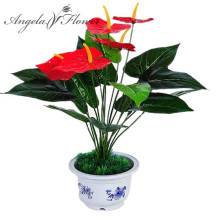 DIY artificial potted anthurium silk flower simulation tree sitting room space decoration home decoration floor type flower(China)