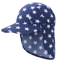 Baby Kids boys Girls Ultraviolet-proof Neck Protection Sunhat solid and star Pattern Design Beach Hat Sun Hat Cap Hot sale(China)