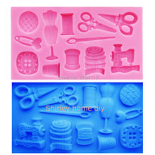 M347 Cake Tool 1 pc Scissor button sewing designer clothes Silicone Mould Wedding Cake Border Fondant Cake Decorating 11*6*1.1CM