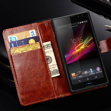 Vintage PU Leather Case for SONY Xperia C S39H C2305 Luxury Wallet with Flip Stand Style Phone Bag Cover Black Brown