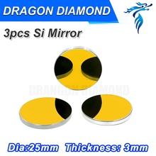 Free Shipping high quality Co2 Laser Cutting Engraving Mirror High Quality Dia 25mm Laser Si Material Mirror 3pcs for a set(China)