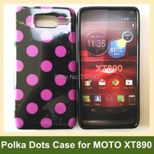 Popular Polka Dots Soft TPU Gel Cover Case for Motorola RAZR i XT890 Free Shipping(China)