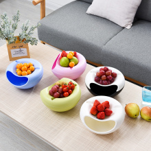Multifunctional Circular Plastic Double Deck Snacks Food Fruit Storage Box Dish Tabletop Grocerie Storage Plate Organizer(China)
