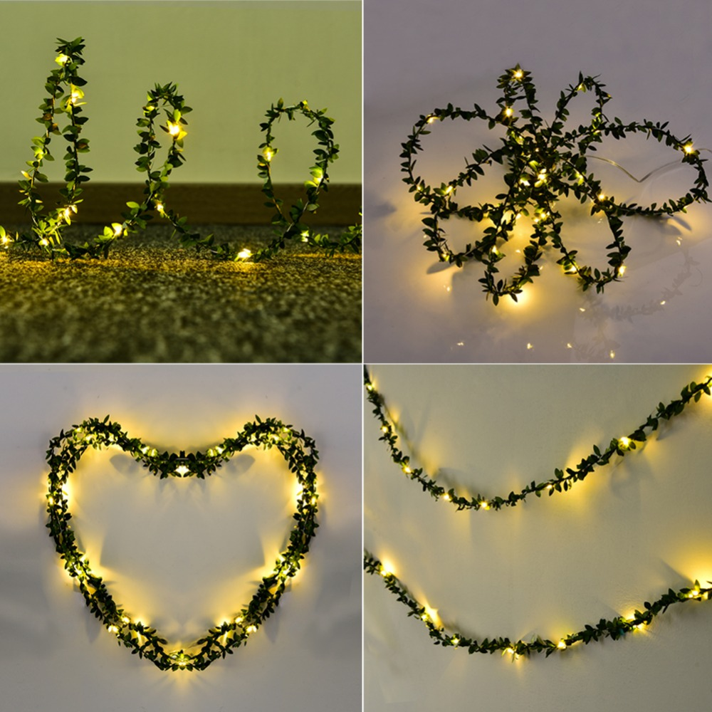Waterproof 30 LED 3M Olive Leaf Light String Battery LED Garland Lighting String For Outdood Garden Festival Wedding Decoration