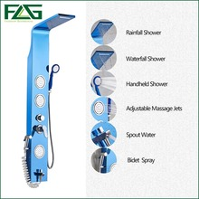 English Blue Color 304 Stainless Steel Rainfall Shower Panel Rain Massage System Faucet With Jets Hand Shower Brushed Tap LY-4