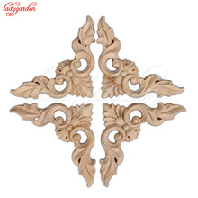 Retro Wood Carving Decal Corner Applique Frame Door Furniture Decorate Wall Doors Decorative Figurines Wooden Flower Applique(China)