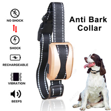 Pet Dog Waterproof Rechargeable Anti Bark Collar Adjustable 7 Sensitivity Levels Vibration Stop Barking Dog Training Collars(China)