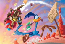 WILE E COYOTE ROD RUNNER looney cloth silk art wall poster and prints(China)