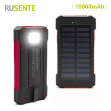 High quality Waterproof 10000mah solar power bank dual usb external battery solar charger powerbank for iphone Samsung HTC