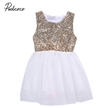 HOT Fashion Infant Kid Girl Sequins Dress Toddler Baby Flower Girl Sleeveless Dress Heart Backless Party Gown Wedding Dress(China)