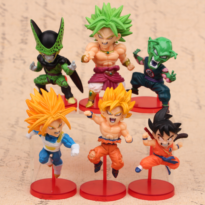 NEW hot 6-8cm 6pcs/set Dragon ball Super Saiyan Cell Broli Piccolo Son Goku Vegeta action figure toys collection Christmas<br><br>Aliexpress
