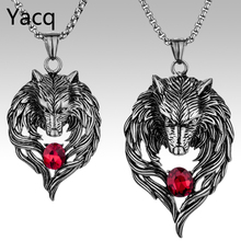 Couple necklace stainless steel wolf pendants W chain valentine day romatic jewelry gifts for hime and her dropshipping GN41(China)