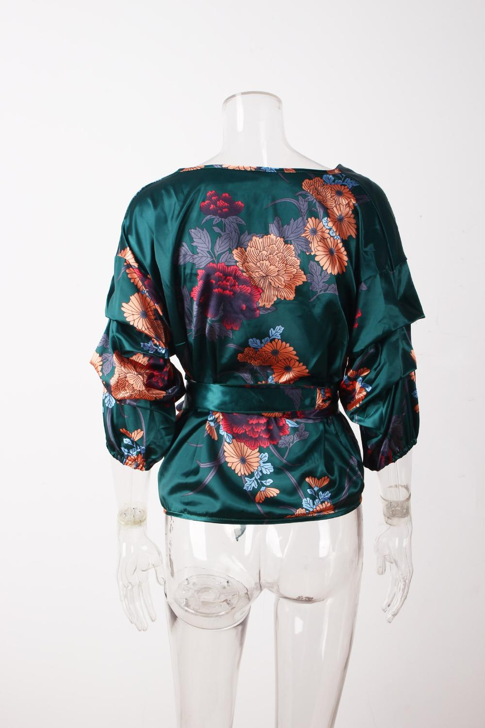 LOSSKY Women V-Neck Sexy Boho Blouse Print Floral Bandages Long Sleeve Blouse Bohemia Ladies Top Shirts Blouses Summer 2018 24