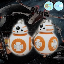 1PCS 2017 New Arrival Star Wars Keychains Anime BB8 Droid Robot LED Keychain Light  Sound Action Figures Stormtrooper Toy Gifts