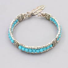 New vintage accessories jewelry silver color blue stone beads leaf bangle Valentine's Day lovers' gift B3408