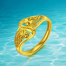 Jewelry Palace Retro Classic Royal  Fashion Flexible Engagement Wedding Real Plated 24k Gold  Ring Jewelry For Women