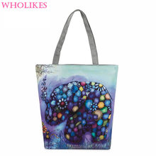 Cartoon Elephant Printed Fashion Women Tote Women's Everyday Bag  Lady Single Shoulder Bag Shopping Bag Beach Bag