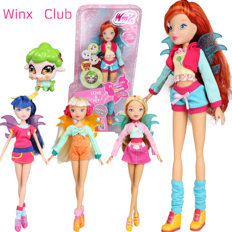 2017 Newest Winx Club Doll rainbow colorful girl Action Figures Fairy Bloom Dolls with lovely pets Classic Toys For Girls Gift<br><br>Aliexpress