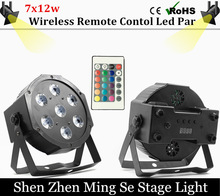 Fast shipping 7x12w Wireless Remote led Par lights RGBW 4in1 flat par led dmx512 disco lights professional stage dj equipment(China)