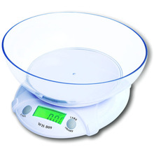 2015 Promotion Top Fashion White Plastic Solid Mi Scale Bascula Lcd Electronic Scale 7kg/1g with Food Disk Kitchen/laboratory