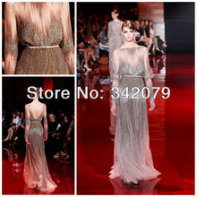 ph03414 silver and gold fully embroidered long dress elie saab haute couture formal evening dress