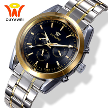Ouyawei Men's Business Auto Date Automatic Mechanical Metal Watches Men Top Brand luxury Gold Watch Relogio Automatico Masculino(China)